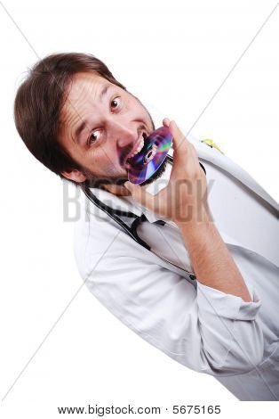 Young Male Doctor Biting Cd