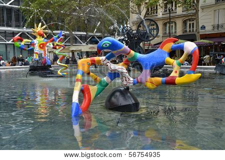 Stravinsky Fountain in Paris, France