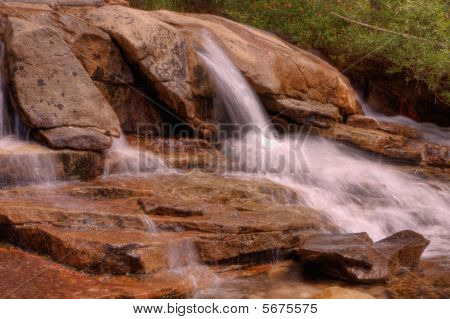 Small Sierra Waterfall To Pond Landscape Hdr