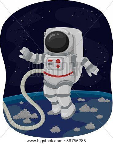 Illustration of an Astronaut Doing a Spacewalk