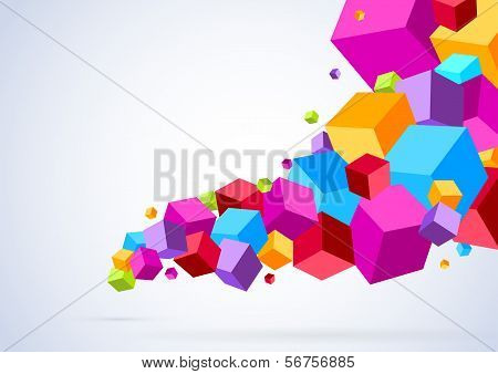 Cubic Tornado Wave - Abstract Bright Background
