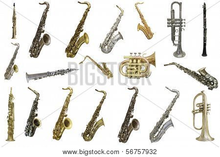 The image of wind instruments isolated under a white background