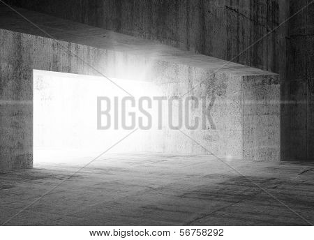 Empty Dark Abstract Concrete Interior With Light
