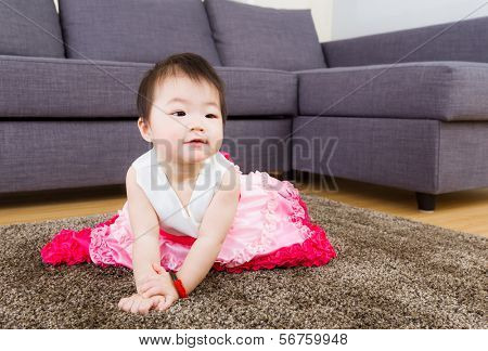 Little girl with pinky dress