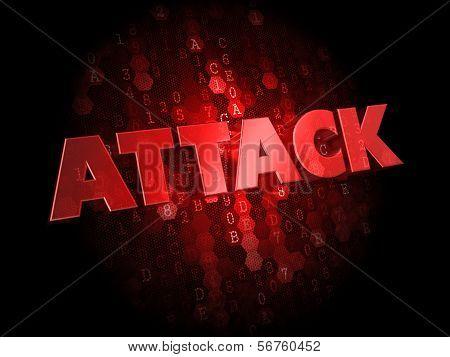 Attack on Dark Digital Background.