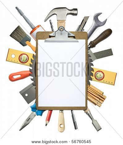 Carpentry, construction collage. Tools underneath clipboard.