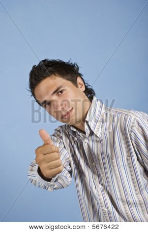 Beauty Young Man Giving Thumbs Up