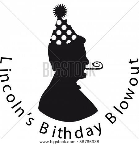 Lincoln's Birthday Silhouette, with party hat
