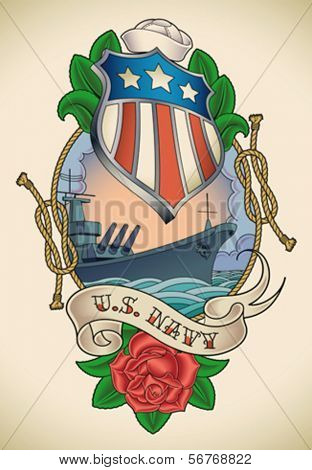 Old-school tattoo of a star striped shield, battleship, banner and rose. Editable vector illustration.