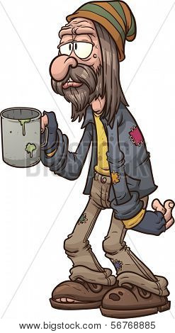 Cartoon beggar. Vector clip art illustration with simple gradients. All in a single layer.