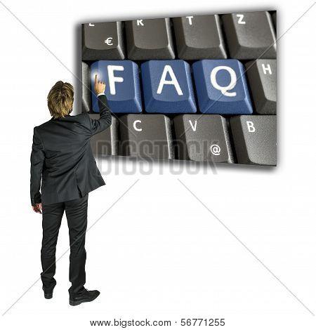 Businessman Activating A Faq Key