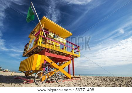 South Beach, Miami, Florida, USA lifeguard post.