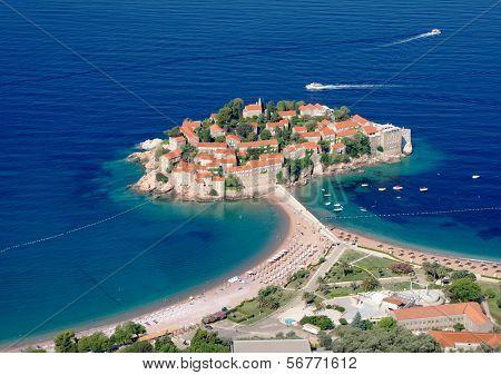 Sveti Stefan fortified village on island, Montenegro