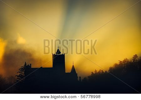 The Bran Castle from Romania at sunset