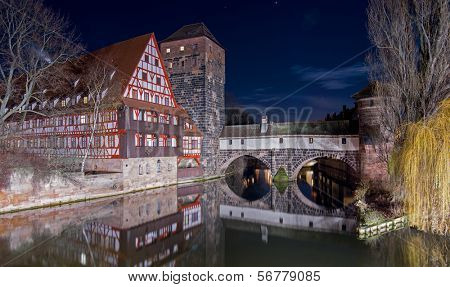 Night view of Executioner's bridge in Nuremberg, Germany
