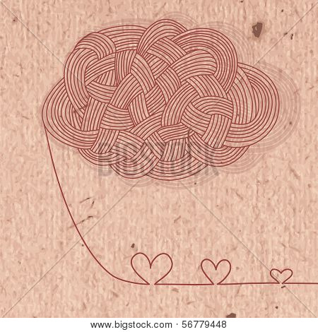 Vintage card with hearts of the filaments