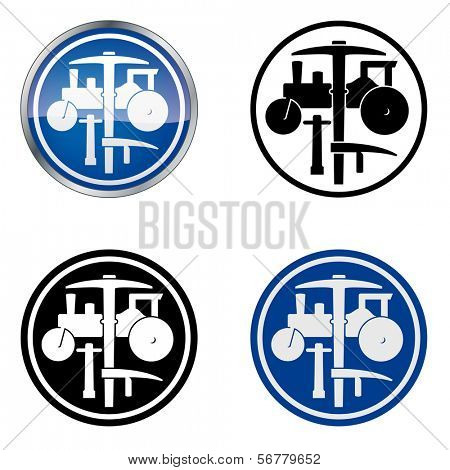 Plasterer and Road Worker � Traditional Craftsmen's Guild Vector Symbol