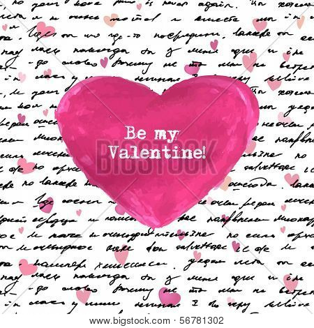 Seamless hand drawn text and small hearts and big watercolor heart. Valentines design.