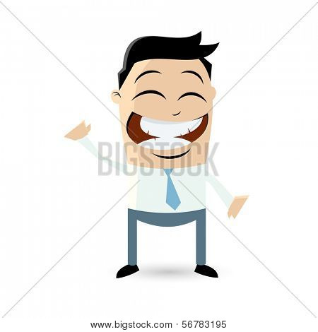 funny cartoon man is beckoning