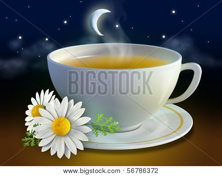 Chamomile cup with some flowers and a night background. Digital illustration.