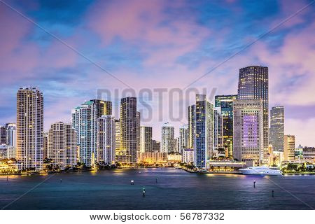 Miami, Florida skyline at Brickell Key and Miami River.