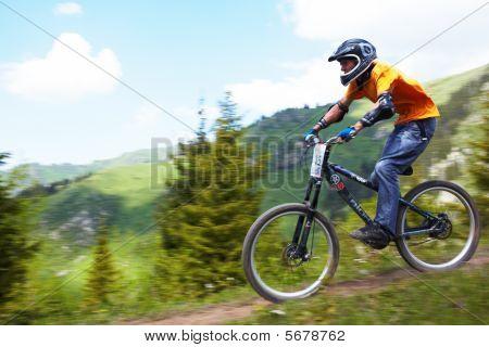 Mountain Biker On Downhill Rce