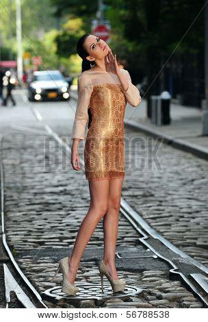Young brunette posing in designer dress at historical area