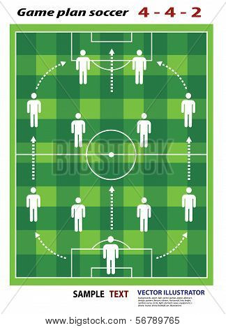 soccer playing field with strategy elements. Soccer tactic diagram.
