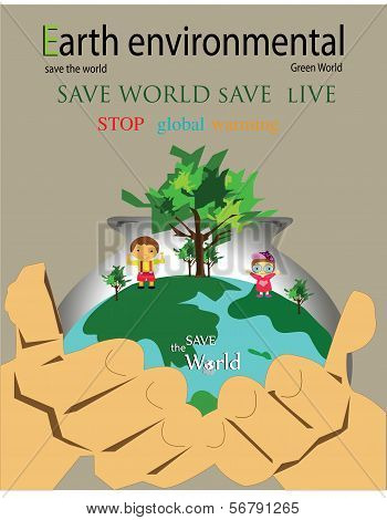 Save the world-save earth by you hand with boy and girl