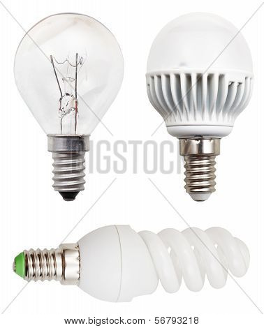 Incandescent, Helical Fluorescent, Led Light Bulbs