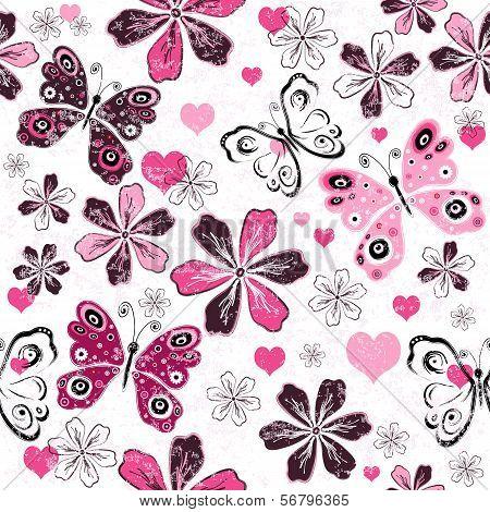 Grunge Valentine Seamless Pattern