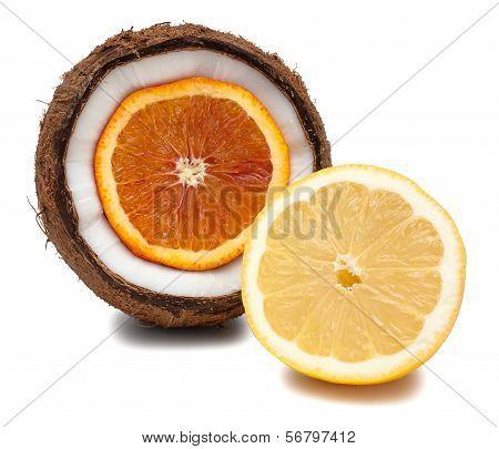 Orange Inside Coconut And Lemon Isolated On White