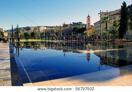 Pond in the Central park - Green Stream in Nice France the Cote d'Azur