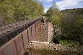 pic of trestle bridge  - A railroad bridge crossing a creek below - JPG