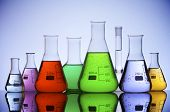 image of conic  - group of laboratory flasks with colored liquid inside - JPG