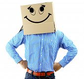 pic of incognito  - Man with cardboard box on his head isolated on white - JPG