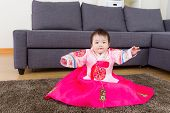 foto of hanbok  - Little girl wear korean hanbok - JPG