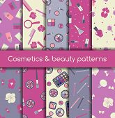 foto of tens  - Set of ten cosmetics and beauty seamless patterns - JPG