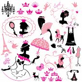 Fairytale Set - Silhouettes Of Princess Girls With Accessories, Crowns And Pets poster
