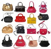 collection of women's handbags