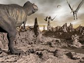 stock photo of tyrannosaurus  - One tyrannosaurus dinosaur running to pteranodons flying upon brown rocky desert by night - JPG