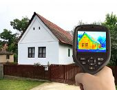 stock photo of irs  - Heat Loss Detection of the House With Infrared Thermal Camera - JPG