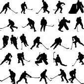 picture of ice hockey goal  - Big collection of vector ice hockey players silhouettes - JPG