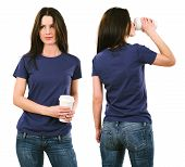 Brunette With Blank Purple Shirt And Drinking