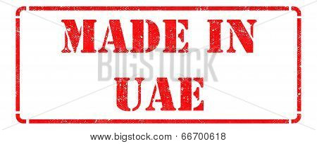 Made in UAE - inscription on Red Rubber Stamp.
