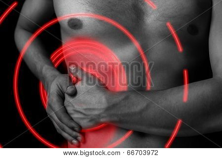 Pain In The Side Of The Abdomen, Pain Area Of Red Color