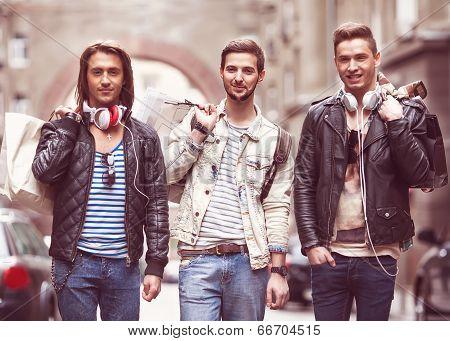 Three Hipster Men Fashion
