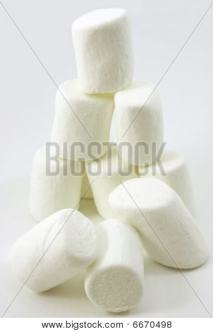 Stacked soft white marshmallows