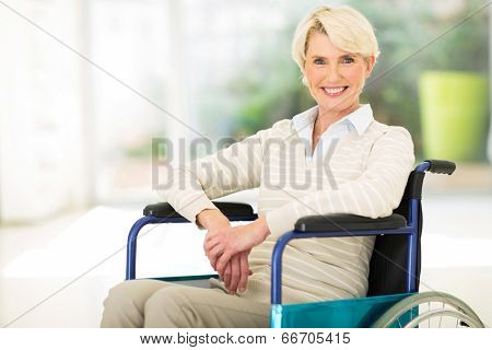 portrait of disabled middle aged woman