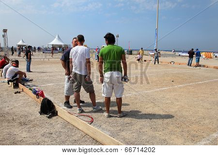 Marseille. France - August 20. 2012. Group Of Players Petanque.